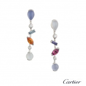 Cartier Meli Melo Multi Gem Set Platinum Earrings